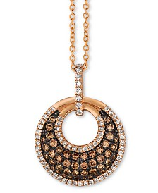 "Le Vian® Chocolatier® Diamond Circle Cluster 18"" Pendant Necklace (5/8 ct. t.w.) in 14k Rose Gold"