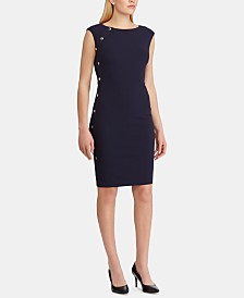 Lauren Ralph Lauren Petite Button-Trim Crepe Dress