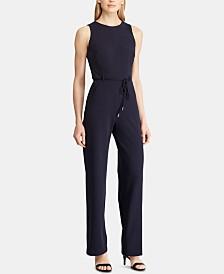 Lauren Ralph Lauren Petite Belted Crepe Jumpsuit
