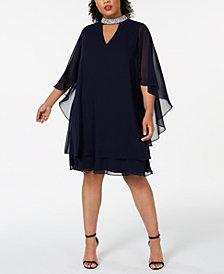 XSCAPE Plus Size Embellished-Neck Shift Dress