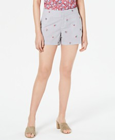 Maison Jules Striped Floral-Print Shorts, Created for Macy's
