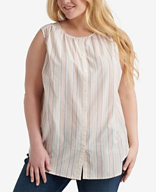 Lucky Brand Plus Size Cotton Striped Sleeveless Shirt