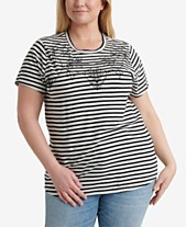 4793dde643c Lucky Brand Plus Size Stripe Embroidered T-Shirt