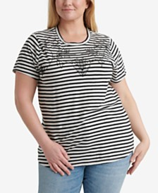 Lucky Brand Plus Size Stripe Embroidered T-Shirt