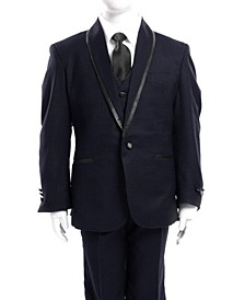 Classic Fit Dotted Satin Trim 1 Button Suits for Boys