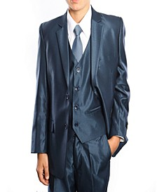 Single Breasted Solid 2 Button Vested Suits for Boys