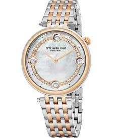 Stuhrling Women's Quartz Watch, Silver Case, MOP Dial, Silver and Rose Tone Bracelet