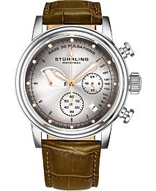 Stuhrling Men's Quartz Pulsometer Chronograph, Grey/Silver Dial, Green Leather Strap Watch