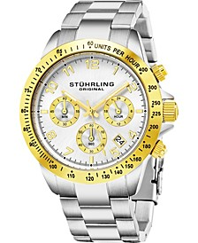 Men's Stainless Steel Silver Tone Chrono Bracelet, Silver Tone Dial, Gold Tone Bezel, with Gold Tone and White Accents