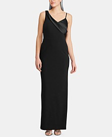 Satin-Overlay Crepe Gown