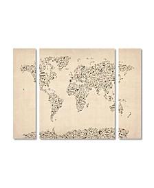 "Michael Tompsett 'Music Note World Map' Multi Panel Art Set Large - 41"" x 30"" x 2"""