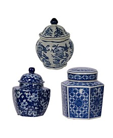 Leith Blue and White Decorative Jars, Set of 3