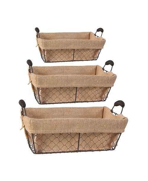 AB Home Joyce Baskets with Canvas Cloth, Rectangle, Set of 3