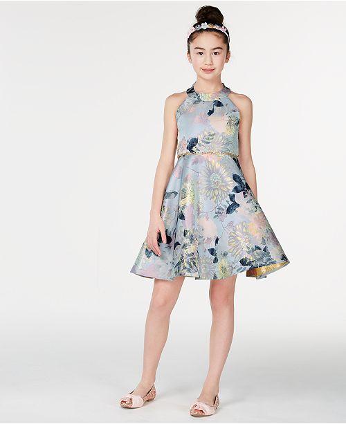 Rare Editions Big Girls Metallic Floral-Print Dress