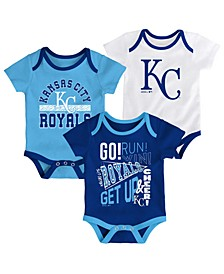 Baby Kansas City Royals Newest Rookie 3 Piece Bodysuit Set