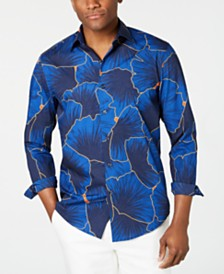 Tasso Elba Men's Stretch Leaf-Print Shirt, Created for Macy's
