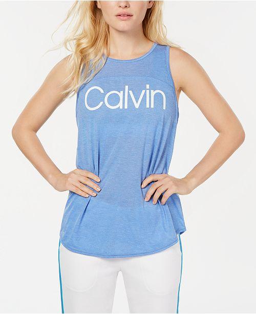 Calvin Klein Logo Keyhole-Back Tank Top