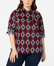 Plus Size Cotton Printed Utility Shirt