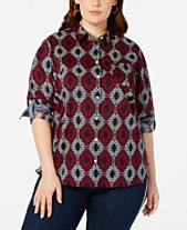 c810f1086947 Tommy Hilfiger Plus Size Cotton Printed Utility Shirt