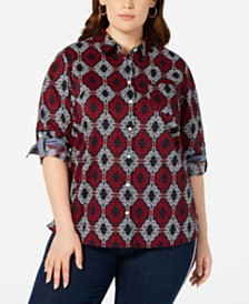 Tommy Hilfiger Plus Size Cotton Printed Utility Shirt