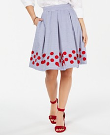 Tommy Hilfiger Cotton Striped Appliqué Skirt, Created for Macy's