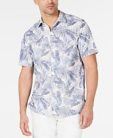 Men's Pavia Palms IslandZone Tropical-Print Piqué Camp Shirt
