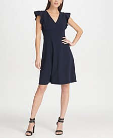 Ruffle Sleeve Fit & Flare Dress