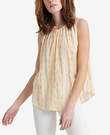 Lucky Brand Striped Sleeveless Button-Up Top