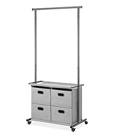 4-Drawer Locking Wheels Garment Rack