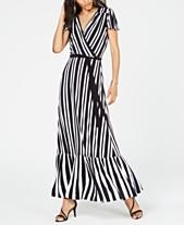4154b08e I.N.C. Petite Striped Faux-Wrap Maxi Dress, Created for Macy's