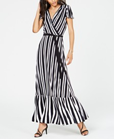 I.N.C. Petite Striped Faux-Wrap Maxi Dress, Created for Macy's