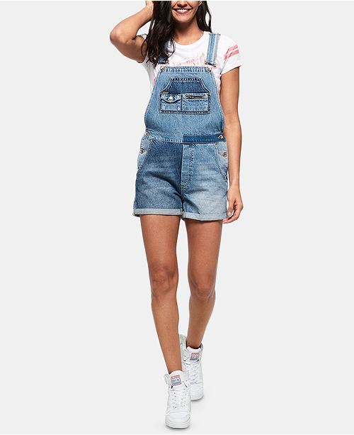 Superdry Cotton Denim Overall Shorts