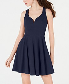 Juniors' V-Neck Fit & Flare Dress