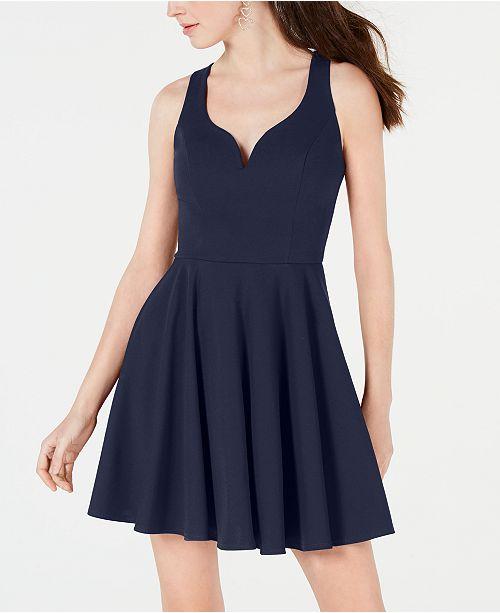 B Darlin Juniors' V-Neck Fit & Flare Dress