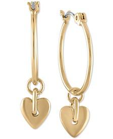 Gold-Tone Baby Heart Medium Hoop Earrings