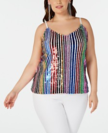 I.N.C. Plus Size Rainbow-Sequin Camisole, Created for Macy's