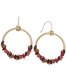 Gold-Tone Multicolor Crystal Drop Hoop Earrings