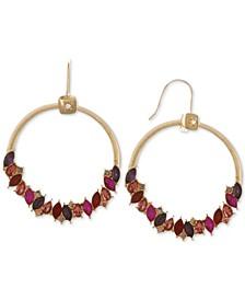 Gold-Tone Multicolor Crystal Drop Hoop Earrings