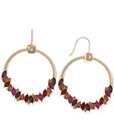 Laundry by Shelli Segal Gold-Tone Multicolor Crystal Drop Hoop Earrings