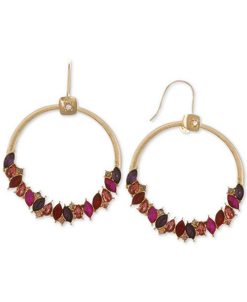 Laundry by Shelli Segal Gold-Tone Multicolor Crystal Drop Hoop Earrings