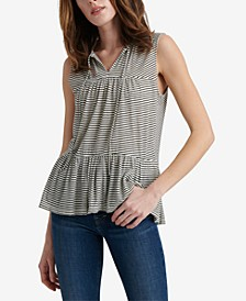 Cotton Ruffle Striped Top