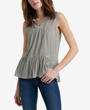 Lucky Brand Tops COTTON RUFFLE STRIPED TOP