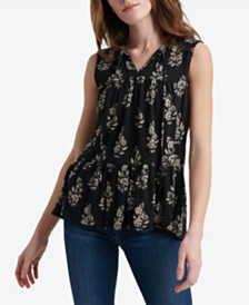 Lucky Brand Cotton Ruffle Printed Top