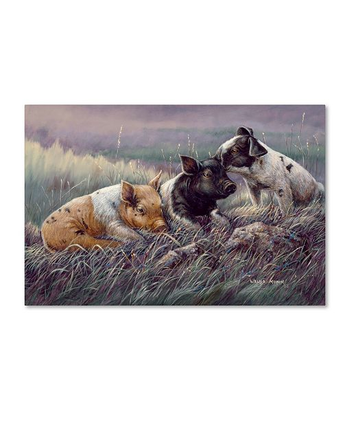 "Trademark Global Wanda Mumm 'Three Little Pigs' Canvas Art - 19"" x 12"" x 2"""