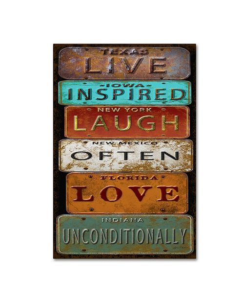 "Trademark Global Jean Plout 'Laugh Live Inspired License Plate' Canvas Art - 24"" x 16"" x 2"""