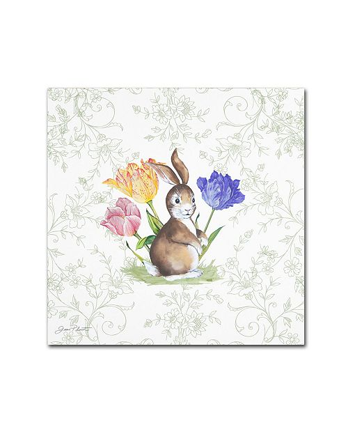 """Trademark Global Jean Plout 'Bunnies In The Tulips 2' Canvas Art - 35"""" x 35"""" x 2"""""""