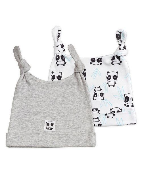 Mac & Moon Mac and Moon 2-Pack Panda Print Double Top Knot Caps