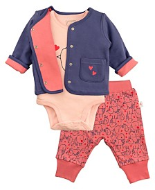 Mac and Moon 3-Piece Set with Navy Cardigan, Pink Graphic Short Sleeve Bodysuit, and Pink Bird Print Pants