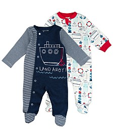 Mac and Moon 2-Pack Nautical Print Footed Sleep and Play