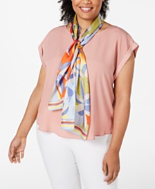 Echo Tropical Geo Silk Oblong Scarf